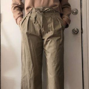 Zara Paperbag Khaki Pants